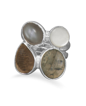 925 Sterling Silver Labradorite Quartz Moonstone and Mother of Pearl Ring