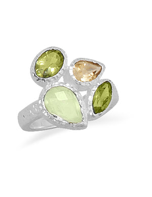 925 Sterling Silver Peridot Prehnite and Citrine Ring
