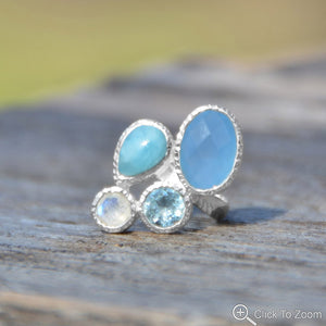 925 Sterling Silver Chalcedony Larimar Topaz and Moonstone Ring