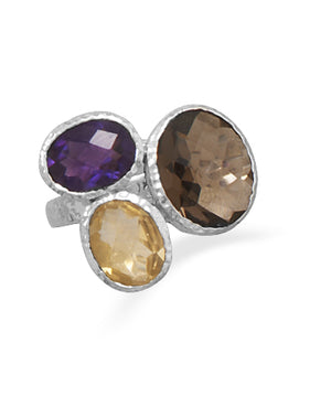 925 Sterling Silver Amethyst Citrine and Smoky Quartz Ring