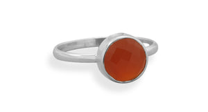 925 Sterling Silver Faceted Carnelian Stackable Ring