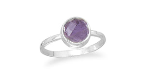 925 Sterling Silver Faceted Amethyst Stackable Ring