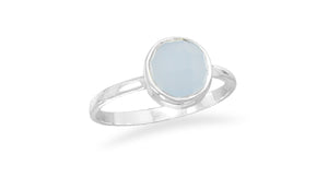 925 Sterling Silver Faceted Chalcedony Stackable Ring