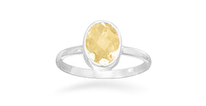 925 Sterling Silver Faceted Citrine Stackable Ring