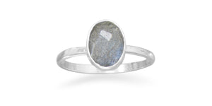 925 Sterling Silver Faceted Labradorite Stackable Ring