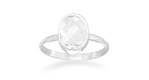 925 Sterling Silver Faceted Clear Quartz Stackable Ring