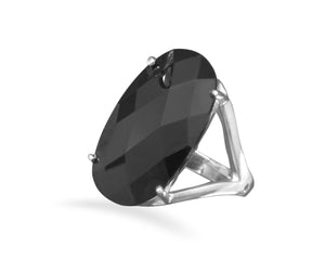 925 Sterling Silver Large Oval Black CZ Ring
