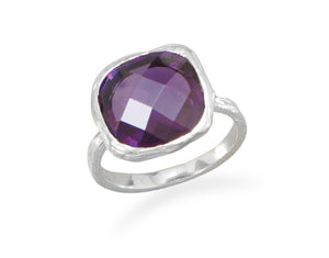 925 Sterling Silver Textured Purple CZ Ring
