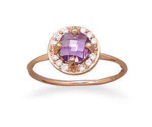 925 Sterling Silver 14 Karat Rose Gold Plated Purple CZ Ring