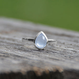 925 Sterling Silver Freeform Faceted Pear Shape Blue Chalcedony Stackable Ring