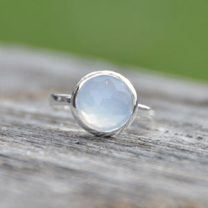 925 Sterling Silver Round Freeform Faceted Blue Chalcedony Stackable Ring