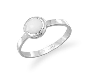 925 Sterling Silver Freeform Faceted White Agate Stackable Ring