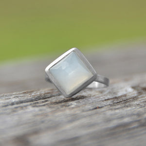 925 Sterling Silver Brushed Freeform Faceted Moonstone Stackable Ring