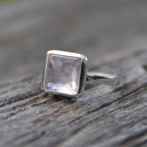 925 Sterling Silver Freeform Faceted Square Rose Quartz Stackable Ring