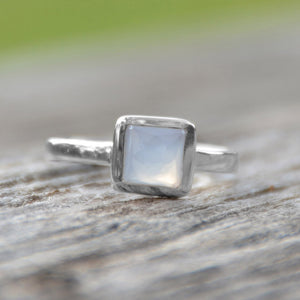 925 Sterling Silver Small Square Freeform Faceted Blue Chalcedony Stackable Ring
