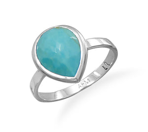 925 Sterling Silver Freeform Faceted Turquoise Pear Shape Stackable Ring