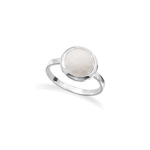 925 Sterling Silver Large Round Freeform Faceted White Agate Stackable Ring