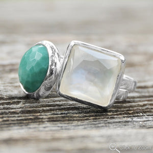 925 Sterling Silver Large Round Freeform Faceted Turquoise Stackable Ring