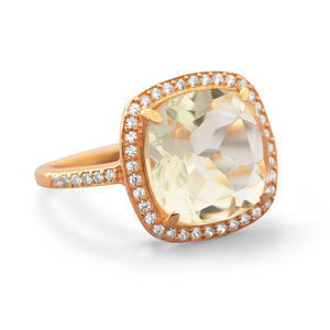 925 Sterling Silver 14K Rose Gold Plated Green Amethyst Ring