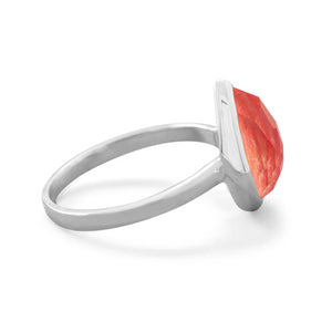 925 Silver Large Pear Shape Freeform Faceted Quartz over Coral Stackable Ring