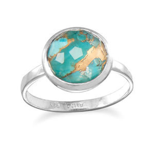 925 Silver Large Round Freeform Faceted Quartz over Turquoise Stackable Ring