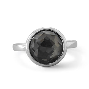Sterling Silver Large Round Freeform Faceted Quartz over Hematite Stackable Ring