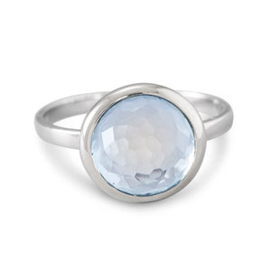 925 Silver Large Round Freeform Faceted Light Blue Hydro Quartz Stackable Ring