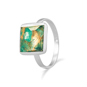 925 Silver Square Freeform Faceted Clear Quartz over Turquoise Stackable Ring
