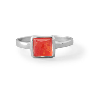 Sterling Silver Small Square Freeform Faceted Quartz over Coral Stackable Ring