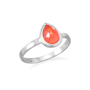 925 Silver Small Pear Shape Freeform Faceted Quartz over Coral Stackable Ring