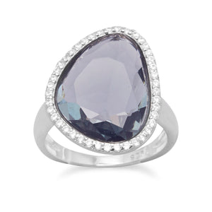 925 Sterling Silver Rhodium Plated Abstract Faceted Slate Glass Ring