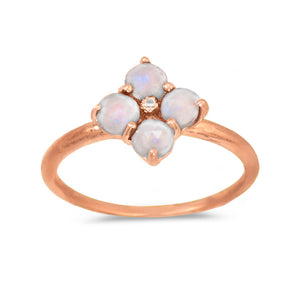 925 Sterling Silver 14 Karat Rose Gold Plated Ring with Moonstone Flower