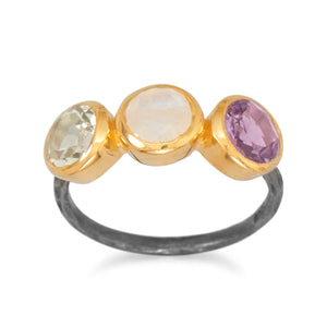 925 Sterling Silver Two Tone Multistone Ring