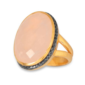 925 Sterling Silver 14 Karat Gold Plated Ring with Faceted Rose Quartz