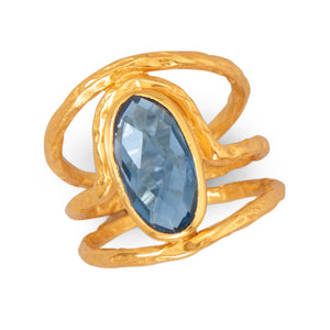 925 Sterling Silver Beautiful 14 Karat Gold Plated Ring with Blue Hydro Quartz