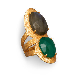Sterling Silver Beautiful 14K Gold Plated Ring with Labradorite and Green Onyx