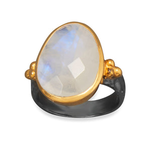 925 Sterling Silver Two Tone Rainbow Moonstone Ring