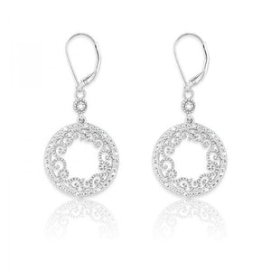 Sterling Silver Round Open Swirl Design 1/10ct Diamond Earrings
