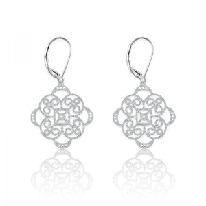 Sterling Silver Square Flower Design 1/10ct Diamond Earrings