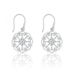 Sterling Silver Round Open Design w/ Diamonds Earrings