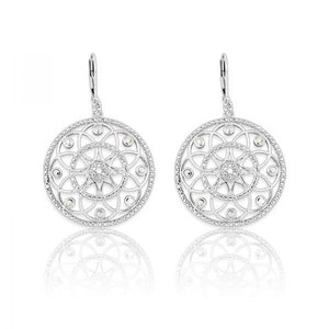 Sterling Silver Round Diamond Earrings