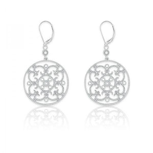 Sterling Silver Round Open Design 1/10ct Diamond Earrings