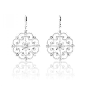 Sterling Silver Open Designed Diamond Earrings