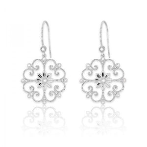 Sterling Silver Open Center Daisy 1/10ct Diamond Earrings
