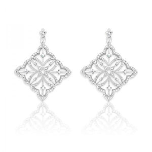 Sterling Silver Square Diamond Earrings