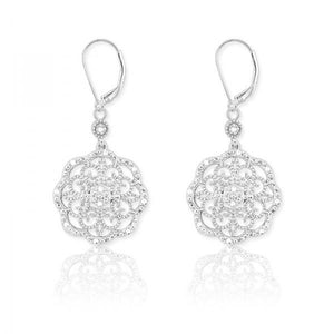 Sterling Silver Flower 1/10ct Diamond Earrings