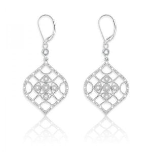 Sterling Silver Marquise Design 1/10ct Diamond Earrings