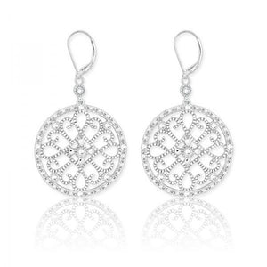 Sterling Silver Round Design 1/10ct Diamond Earrings