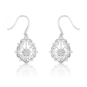 Sterling Silver Open Design w/ Diamonds Earrings