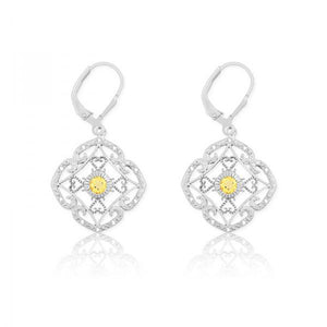 Sterling Silver Diamonds with Center Citrine Square Earrings
